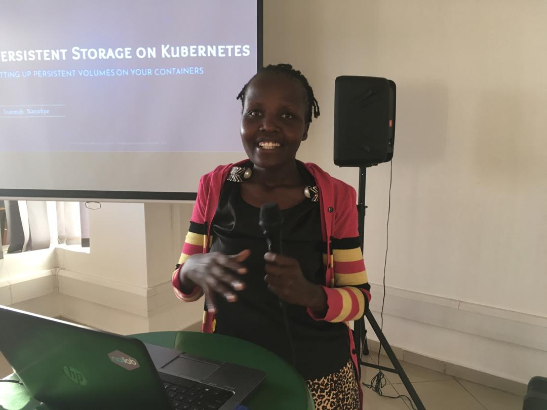 Joannah Nanjekye during a Kubernetes session at Outbox