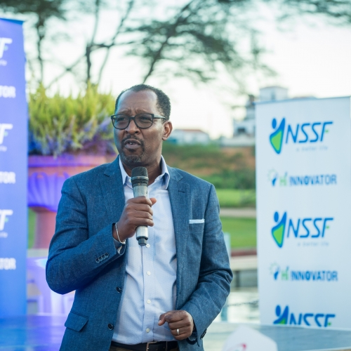 NSSF MD, Mr. Richard Patrick Byarugaba giving a speech during the launch of the initiative