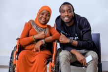 Andrew Tugume, one of the facilitators of Outbox EDU, with Aisha Kiwuka, a participant.